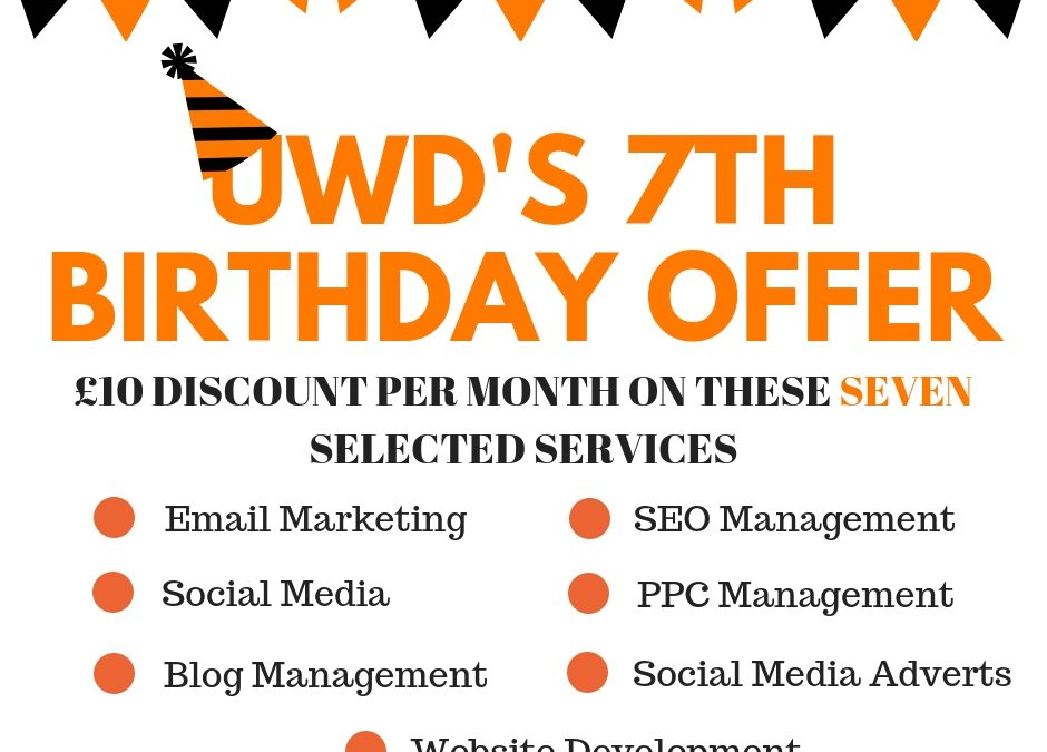 UWD's Special Birthday Offer On SEVEN Selected Services!